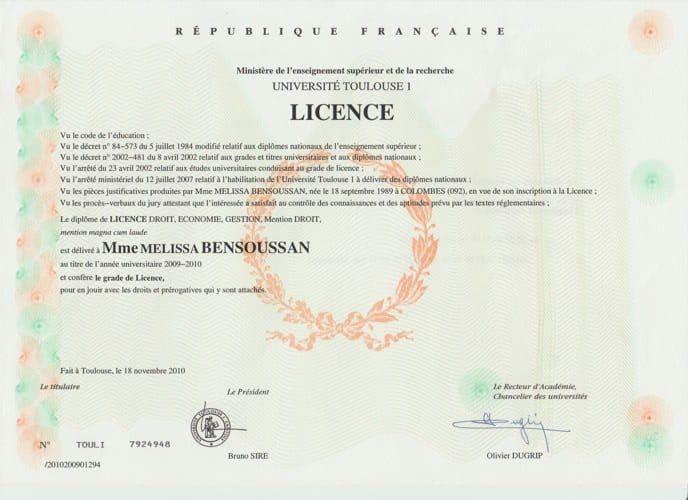 licence de droit privé